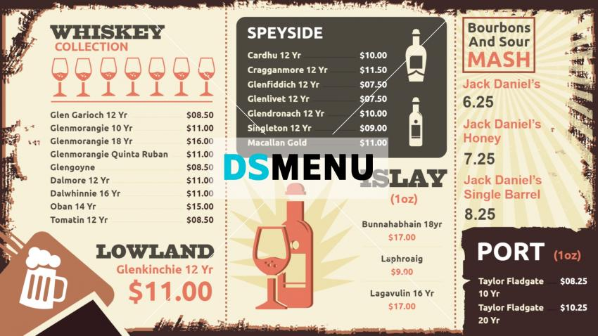 Vintage Digital signage menu boards for a Bar or Pub