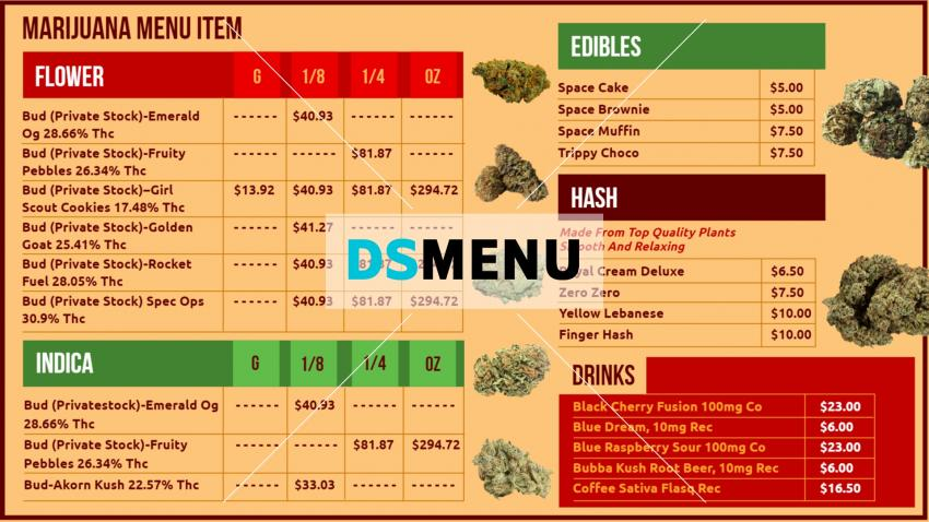 Cannabis Dispensary Menu Board for digital signage