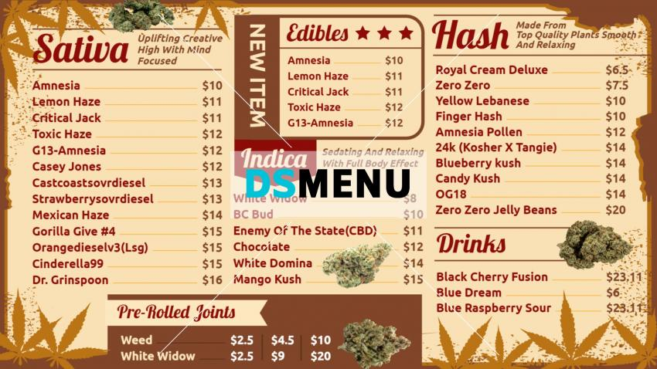 Medical Marijuana menu board design for digital signage