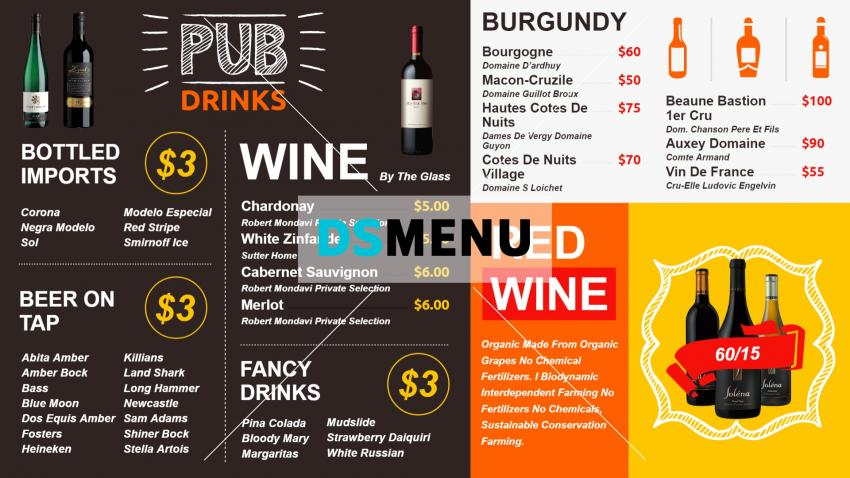 Online signage Wine Menu Design for restaurants