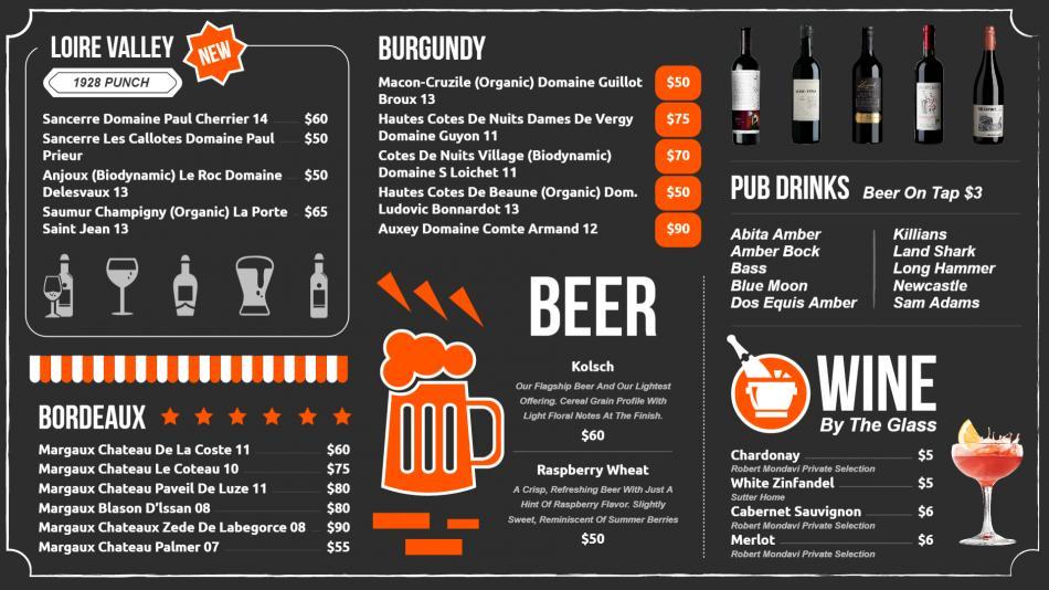 Digital signage wine menu boards for a restaurant
