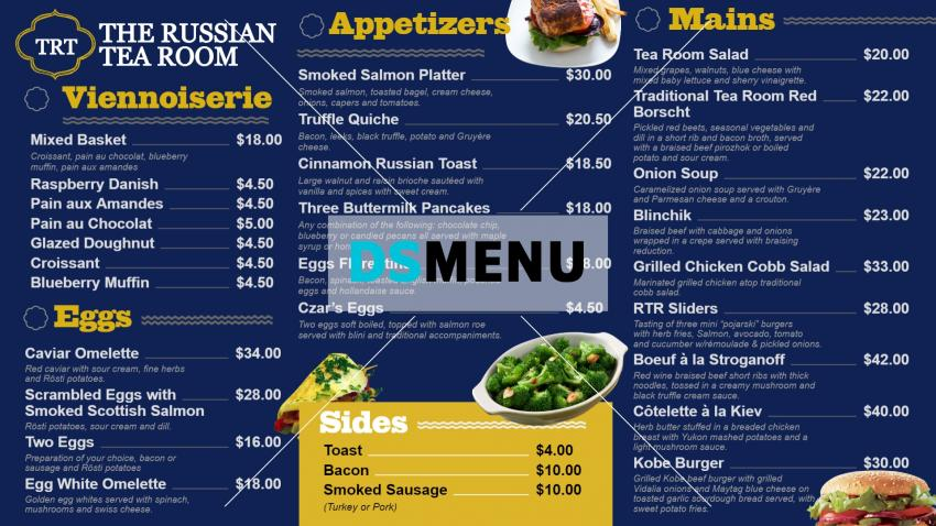 Online digital signage menu for Russian tea room