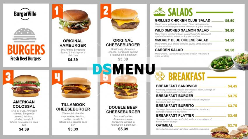 Create BurgerVille signage menu boards online