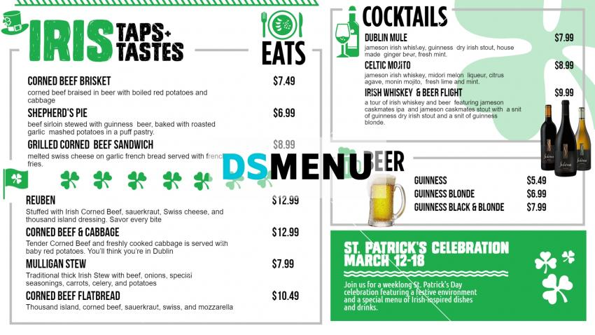 Online restaurant menu board design for St. Patrick's Day