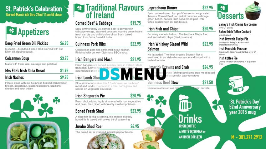 Restaurant menu design for Shamrock patrick day for digital signage