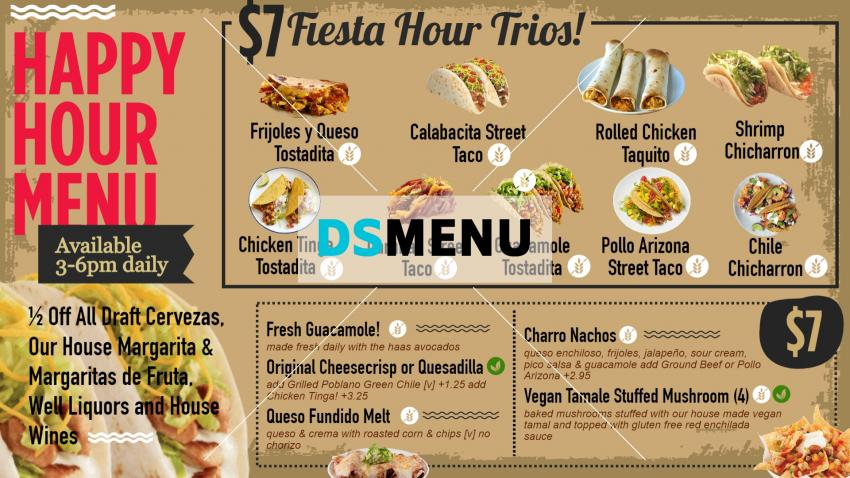 Elcharro cafe happy hour restaurant menu template