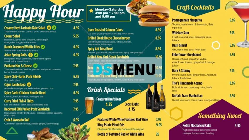 Port land city grill happy hour restaurant menu board design