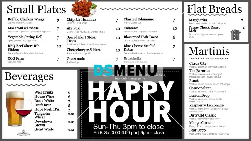 Citrus city grille happy hour design for digital signage