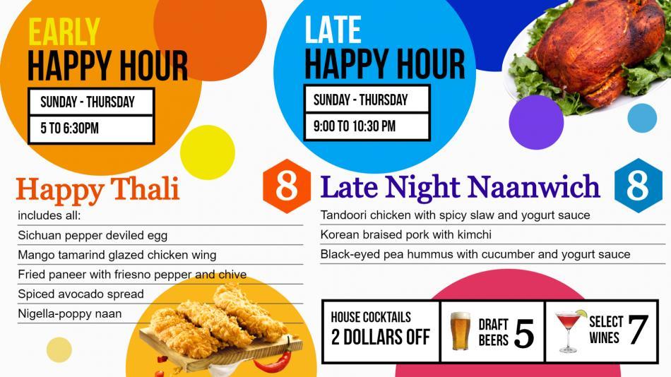 Poppy seattle happy hour menu board design idea for digital signage