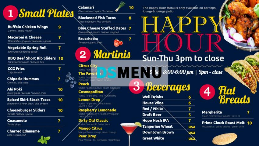 Blue Citrus city grille happy hour menu design for digital signage