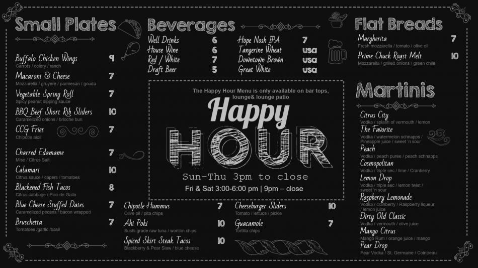 Online Citrus city grille happy hour chalkboard menu board design