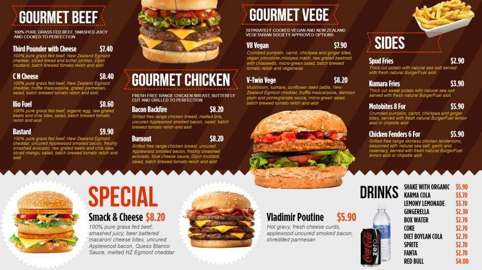 Make online Gourmet Foods menu for digital signage at home