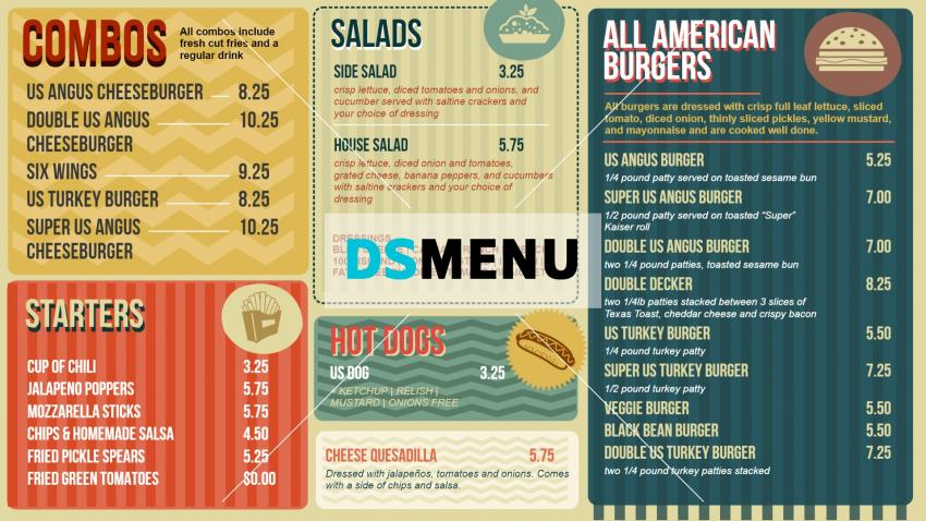 Digital signage cafe menu in retro style for restaurants