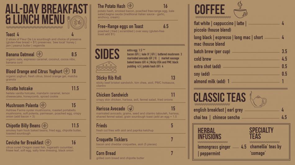 Minimalist restaurant menu design for cafe in usa style for digital signage