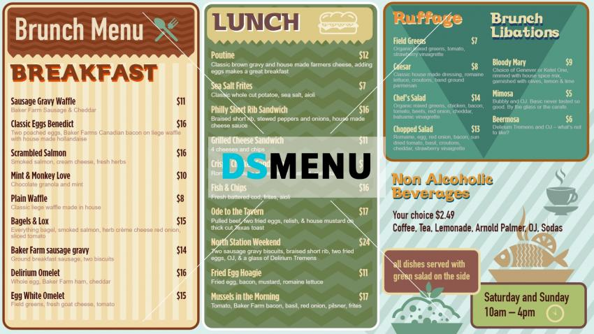 Cafe Brunch Menu design template in retro style for digital signage