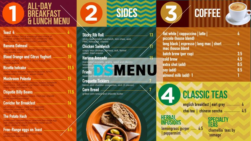 Vintage and retro menu design for digital signage with usa style