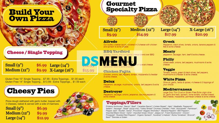 Only pizza menu design idea in modern style for QSR