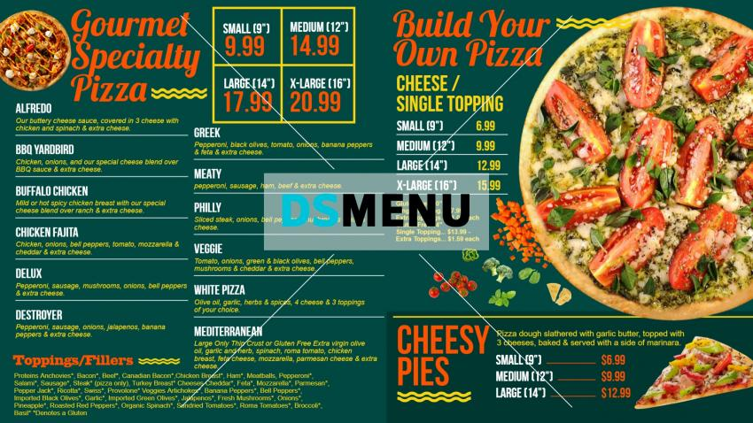 Only pizza menu idea in modern style for QSR