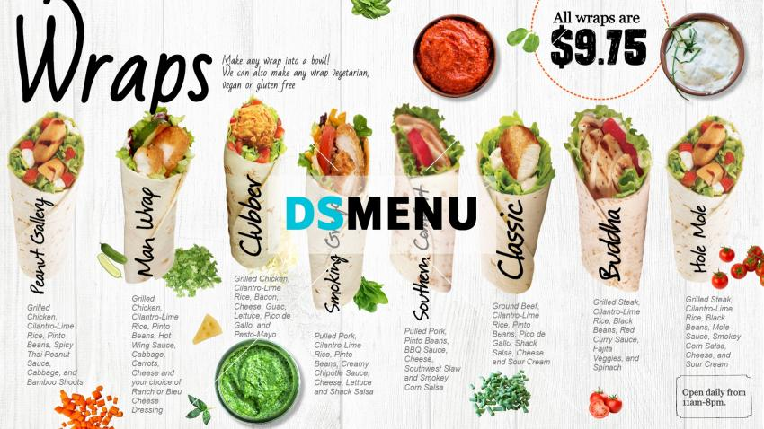 Only wrap menu idea for digital signage for QSR