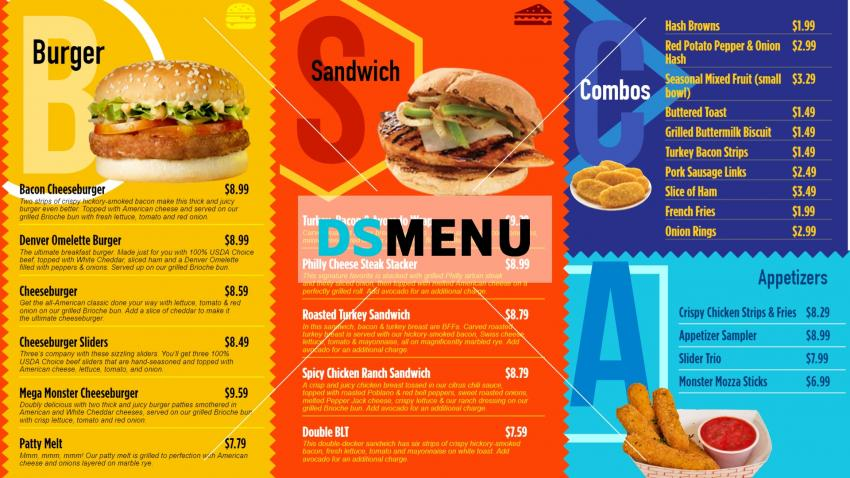 Colorful restaurant menu board design idea for digital signage