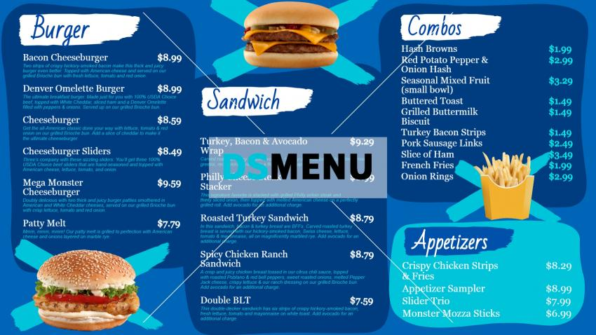 Burger restaurant menu board design for digital signage.