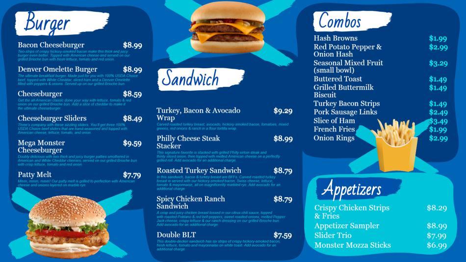 Burger restaurant menu board design for digital signage.