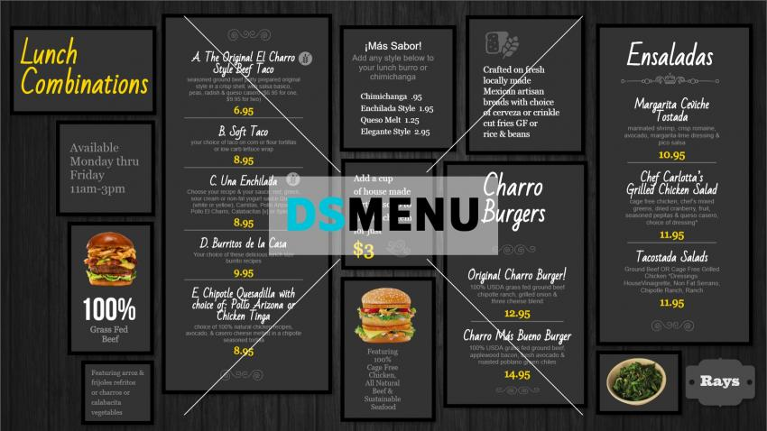 Lunch combination black restaurant menu design