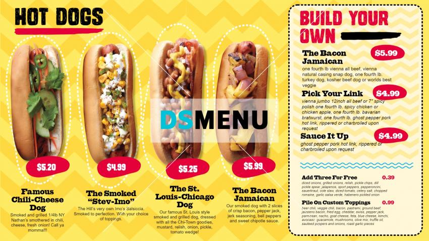 Modern and clean hot-dog menu idea with brush stroke for restaurant