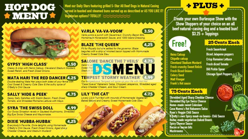 Creative restaurant digital menu design for digital signage