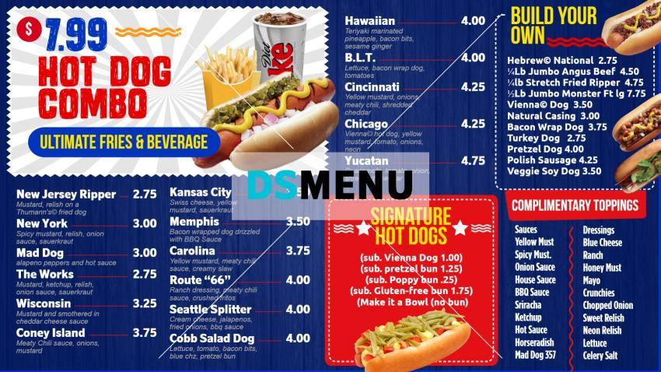 Modern hot-dog combo menu design