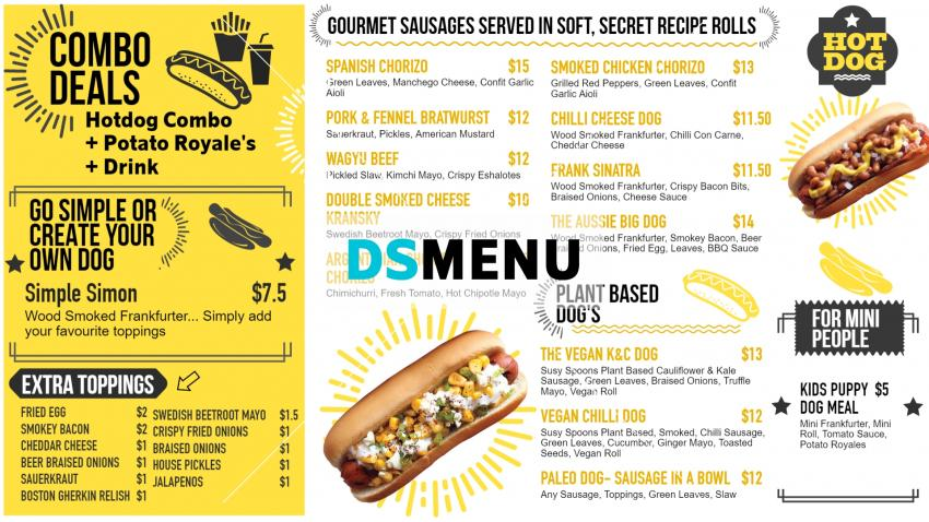 Modern hot-dog menu design for digital signage