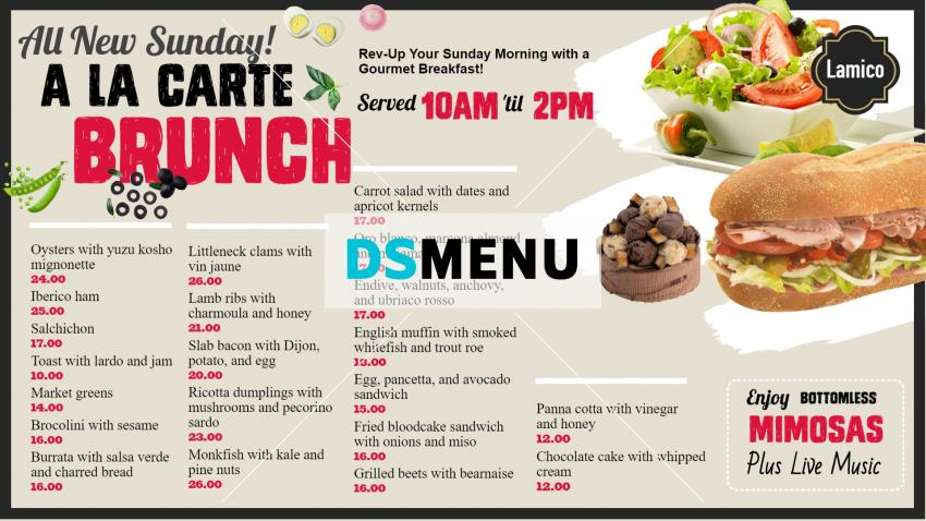 Clean Brunch menu design idea for digital signage
