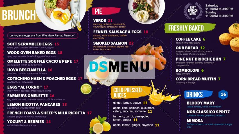 Stylish Brunch menuboard design template for restaurants
