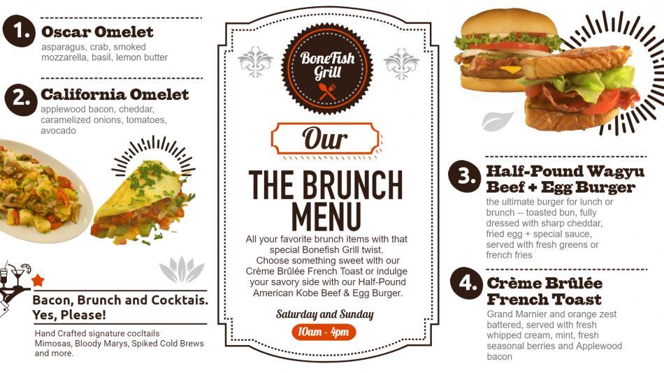 White brunch menu design for digital signage