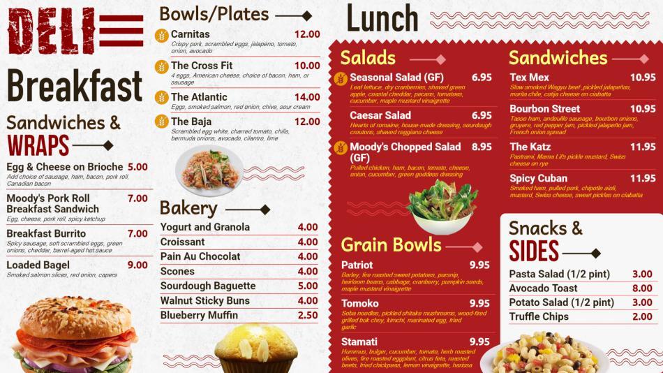 Deli menu design for restaurants for marketing