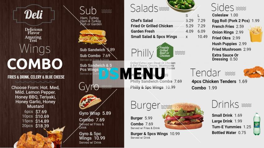 Deli menu design for digital signage for restaurant business
