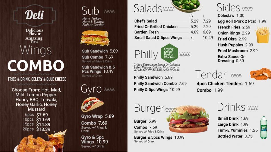 Deli menu design for digital signage for restaurant business