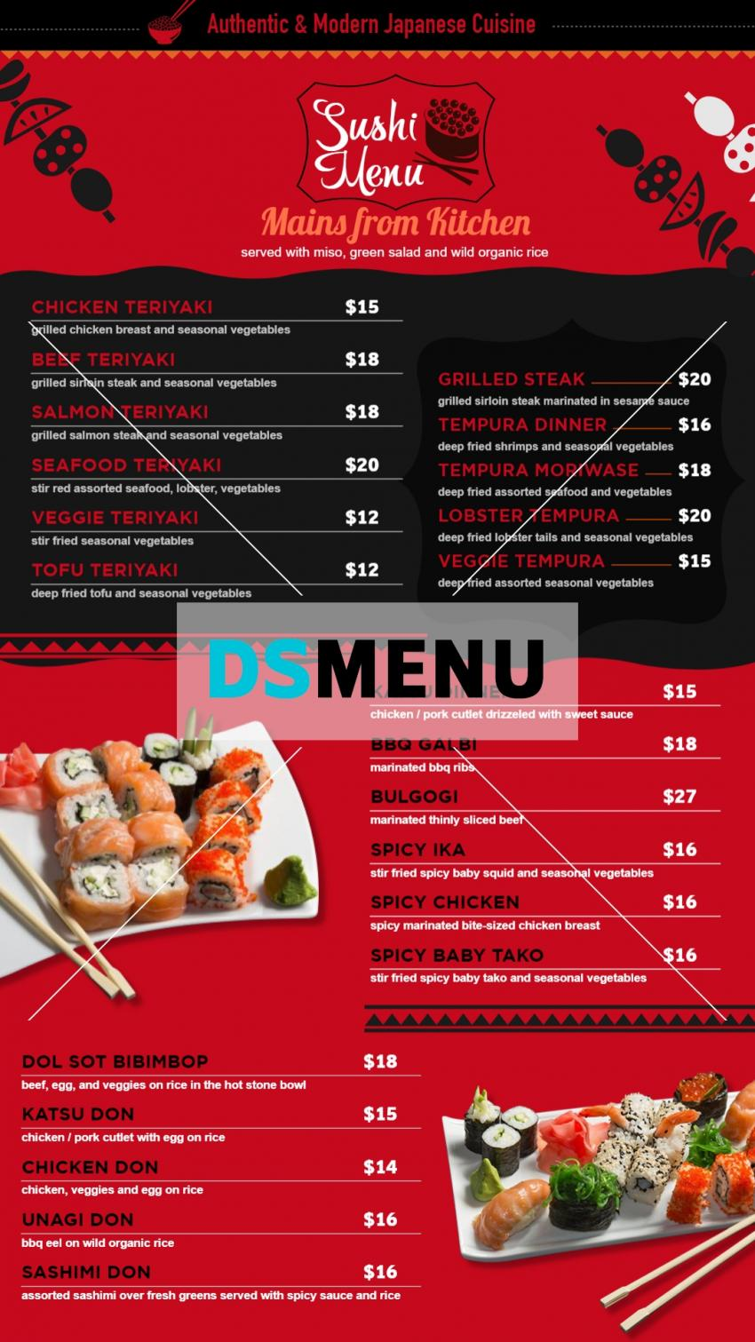 Vertical Japanese sushi menuboad for digital signage for restaurants