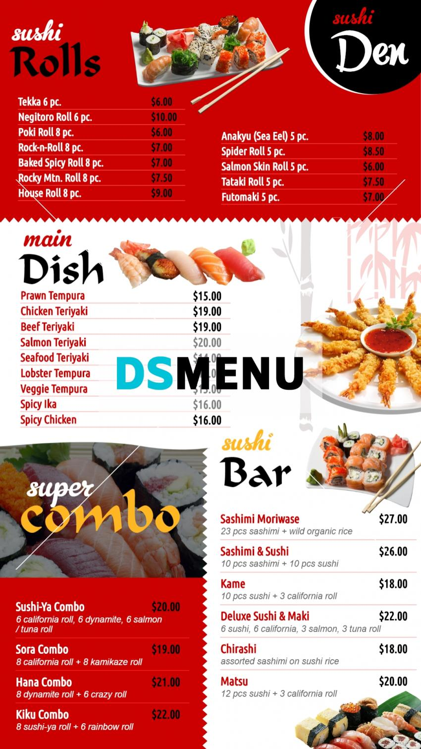 Japanese Vertical sushi menuboad for digital signage