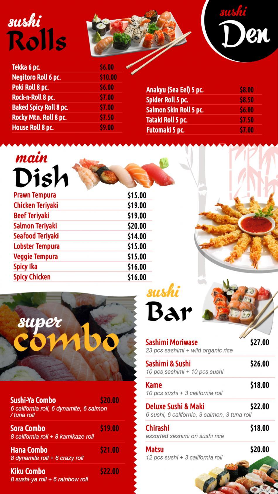 Japanese Vertical sushi menuboad for digital signage