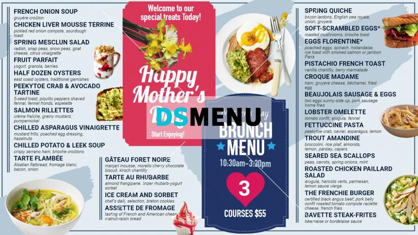 Mother's Day Brunch menu board for digital signage for restaurant