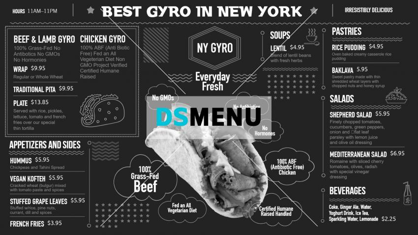 Iconic chalk menu board for gyros for digital signage