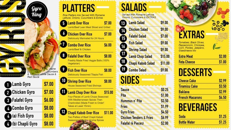 Stylish restaurant menu board design idea for gyros