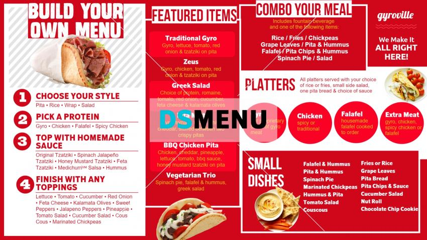 Red restaurant menu board for digital signage for Gyro from dsmenu