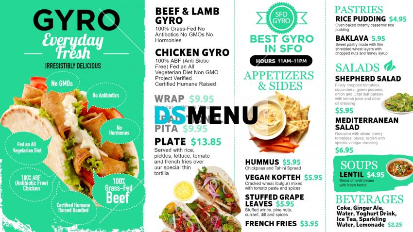 Fresh digital signage menu board design for Gyro restaurants