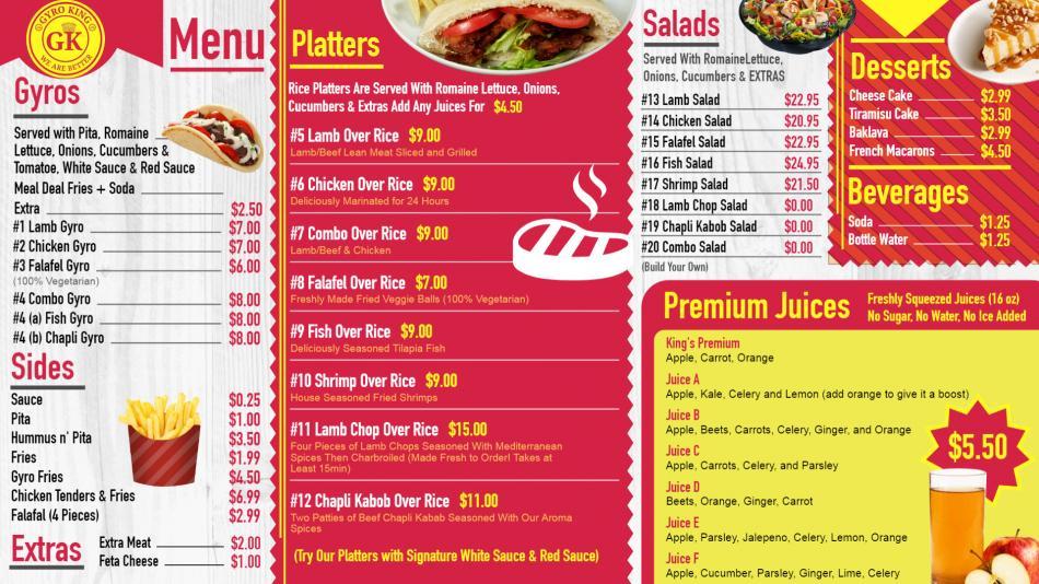 Gyro menu board, the best digital signage menu boards