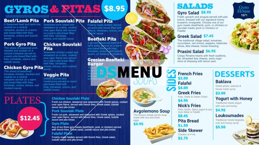 Latest menu board design for Gyros from DSMenu for restaurants