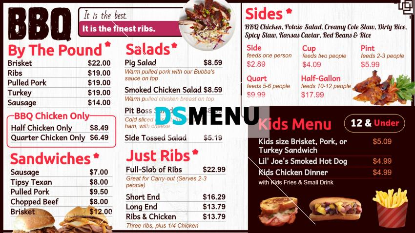 Barbecue Menu Board with Kids Menu for digital signage