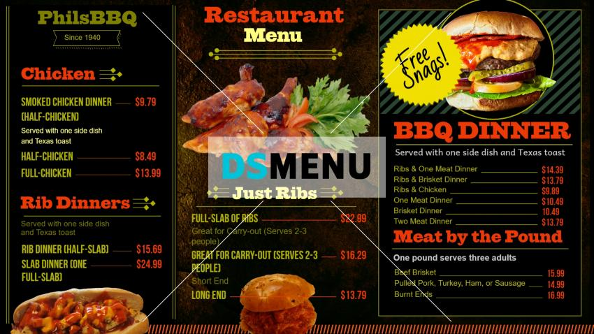 BBQ Digital Signage Menu Board Template for restaurants