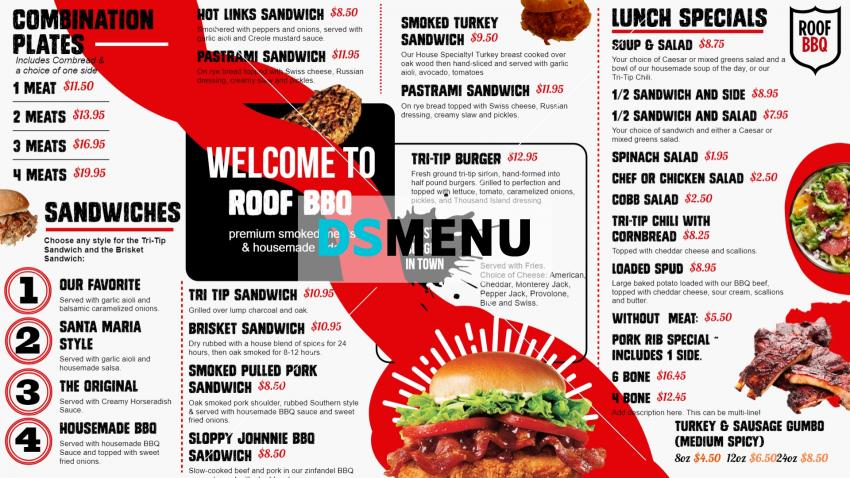 Stylish red and white BBQ menu boards for restaurants